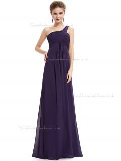 Designer Celebrity Grape Chiffon One Shoulder A-line Floor-length Ruffles Empire Bridesmaid Dress