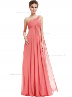 Cheap Girls Watermelon Chiffon One Shoulder A-line Floor-length Ruffles Empire Bridesmaid Dress