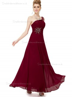Designer Girls Burgundy Chiffon One Shoulder A-line Floor-length Beading Empire Bridesmaid Dress