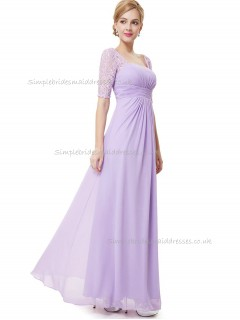 UK Lilac A-line Chiffon Lace Floor-length Bateau Bridesmaid Dress