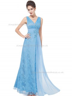 Beautiful Amazing Blue A-line Lace Applique Floor-length V-neck Bridesmaid Dress
