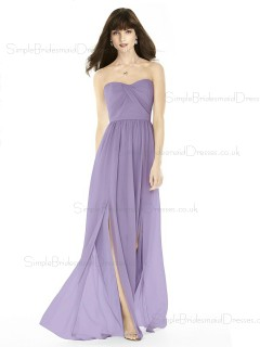 Vintage Girls Lilac A-line Long Sweertheart Naturl Waist Bridesmaid Dress