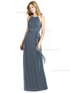 Elegant Bow Scoop silverstone A-line Lux Chiffon Floor-length Bridesmaid Dress