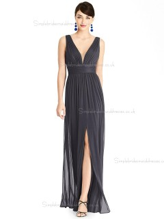 Fitted A-line Chiffon Draped Floor-length V-neck Black Bridesmaid Dress