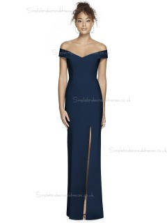 Vintage Stunning Satin Off-the-shoulder Dark Navy Split Column / Sheath floor-length Bridesmaid Dress
