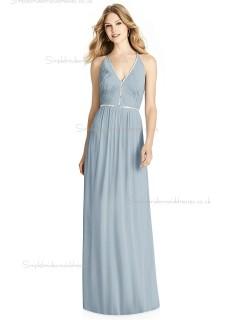 Budget V-neck Ruffles / Beading A-line Chiffon mist Floor-length Bridesmaid Dress