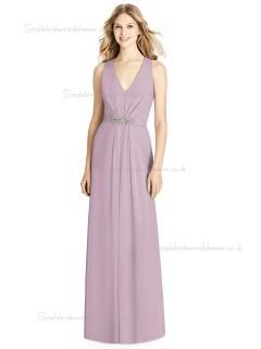 Designer Celebrity A-line Matte Chiffon floor-length suede rose Beading V-neck Bridesmaid Dress