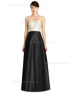 Fitted Discount Sweetheart A-line Satin floor-length Bridesmaid Dress