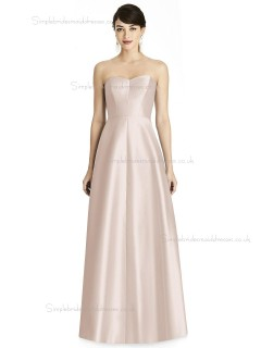Online Satin A-line floor-length Pearl Pink Sweetheart Bridesmaid Dress