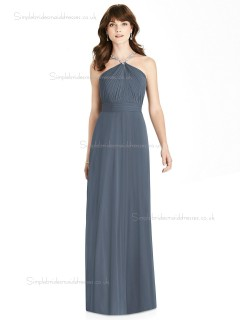 UK Best silverstone Chiffon A-line Beading floor-length Bridesmaid Dress
