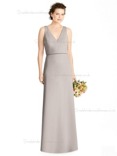 Online Celebrity taupe Bow Satin floor-length Column / Sheath V-neck Bridesmaid Dress