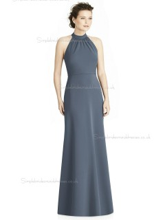 Elegant Girls Gray A-line Satin floor-length Bow Bridesmaid Dress