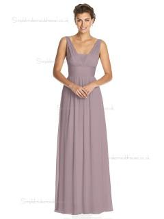 Budget Best floor-length V-neck Chiffon desert rose A-line Draped Bridesmaid Dress