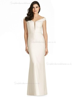 Vintage Amazing Vintage Ivory Mermaid V-neck floor-length Satin Bridesmaid Dress