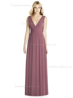 UK Girls floor-length Draped english rose A-line V-neck Chiffon Bridesmaid Dress
