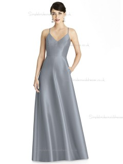 Girls V-neck A-line Silver floor-length Satin Bridesmaid Dress