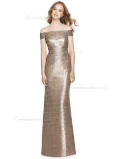 Discount Vintage Off-the-shoulder floor-length Column / Sheath Sequin Champagne Bridesmaid Dress