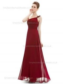 Designer Celebrity Chiffon Floor-length Empire Ruched Hand Made Flower A-line Burgundy Sleeveless One Shoulder Bridesmaid Dress