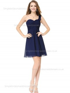 Beautiful Girls Dark Navy Draped Knee-length Chiffon Empire Sleeveless Sweetheart A-line Bridesmaid Dress