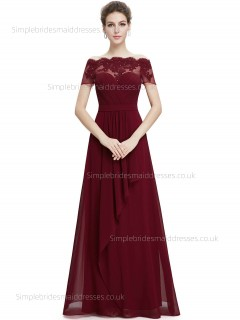 Vintage Girls A-line Sweetheart Natural Chiffon Floor-length Burgundy Applique Sleeve Cap Bridesmaid Dress