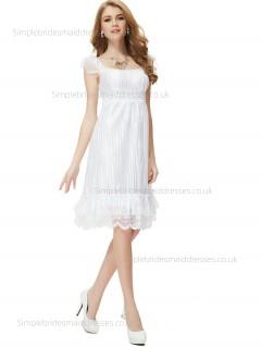 Online Celebrity Knee-length Empire Cap A-line Sleeve Lace White Bateau Bridesmaid Dress