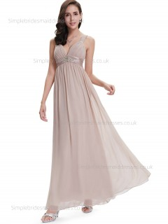 Budget Best Sleeveless Empire A-line V-neck Chiffon Beading Floor-length Bridesmaid Dress