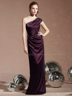 Charmeuse One Shoulder Sheath Floor-length Sleeveless Natural Purple Backless Bridesmaid Dress