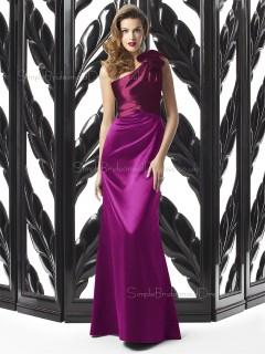 Satin One Shoulder Sheath Floor-length Sleeveless Natural Purple Zipper Bridesmaid Dress