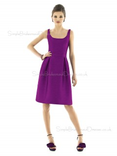 Dupioni Bateau A-line Knee-length Sleeveless Natural Purple Zipper Bridesmaid Dress