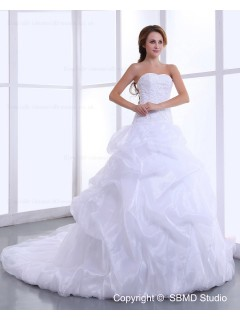 Lace Up Dropped Cathedral Beading / Ruffles Sleeveless Satin / Taffeta Sweetheart Ivory A-Line / Ball Gown Wedding Dress