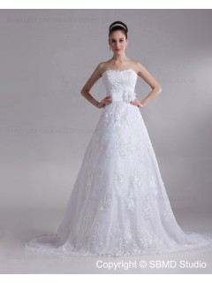 Court Zipper Empire Sleeveless A-line Lace Applique / Bow / Buttons Sweetheart Ivory Wedding Dress