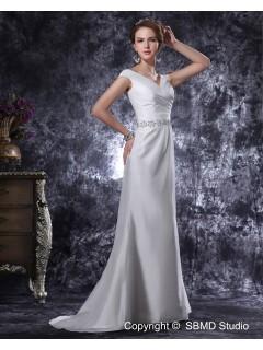 Sleeveless Ivory Taffeta Natural Zipper Column / Sheath Sweep V Neck Beading / Ruffles Wedding Dress