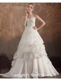 Empire Zipper Ruffles / Applique / Beading Sweep Sleeveless A-Line / Ball Gown Sweetheart Satin / Organza Ivory Wedding Dress