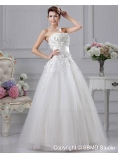 Ivory Satin / Organza A-line Strapless / Beading / Hand Made Flowers Zipper Empire Sleeveless Floor-length Bateau Wedding Dress