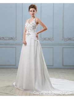 Empire Sleeveless Cathedral V Neck Ivory Backless Applique / Beading A-Line Satin / Chiffon Wedding Dress