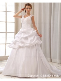 Embroidery / Cascading-Ruffles A-Line Sweetheart Zipper Court Sleeveless Dropped Ivory Satin Wedding Dress