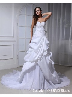 A-Line Chapel Lace Up Ivory Empire Beading / Applique / Cascading-Ruffles Sweetheart Sleeveless Taffeta / Organza Wedding Dress
