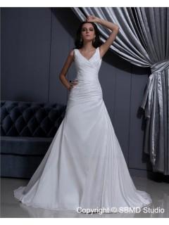 Ruffles Ivory Sleeveless V Neck A-Line Taffeta Natural Court Lace Up Wedding Dress