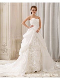Empire Sweetheart Ivory Taffeta Ruffles / Hand Made Flower Zipper Sleeveless Court A-Line / Ball Gown Wedding Dress