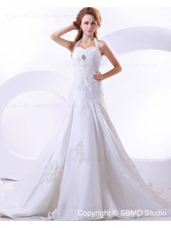Beading / Applique A-line Natural Halter Taffeta Cathedral Lace Up Ivory Sleeveless Wedding Dress