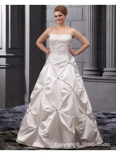 Beading / Applique A-line / Plus Natural Satin Strapless Sleeveless Zipper Size Ivory Court Wedding Dress
