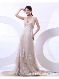 Satin Ivory Empire Zipper Court A-line Sleeveless Applique Halter Wedding Dress