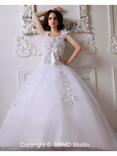 Beading / Bow / Ruffles / Hand Made Flower Sweep Zipper A-Line / Ball Gown Natural Scoop Ivory Satin / Tulle Sleeveless Wedding Dress