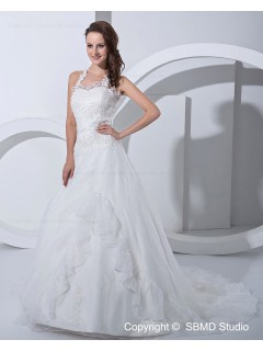 A-line Ivory Natural Satin / Organza Sweetheart / Halter Court Lace Up Applique Sleeveless Wedding Dress