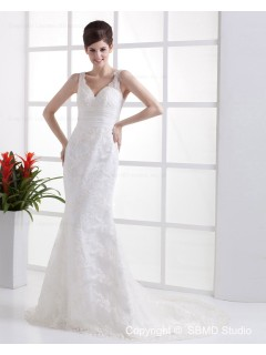 Ivory Empire V Neck Zipper Lace / Ruffles Column / Sheath Cathedral Sleeveless Satin Wedding Dress