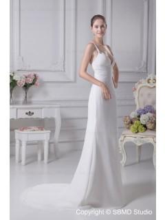 Sleeveless Empire A-line Chapel V Neck Ivory Beading Zipper Chiffon / Satin Wedding Dress
