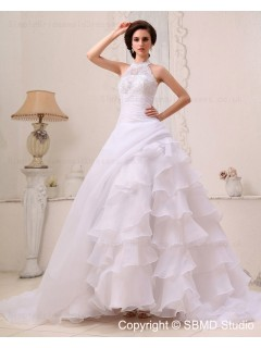 Sleeveless Chapel Organza / Satin A-line Natural Applique / Beading / Cascading-Ruffles Ivory Zipper Halter Wedding Dress