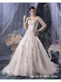 Ivory Court Sleeve Zipper Empire Organza Applique / Beading / Sash A-line Long V Neck Wedding Dress