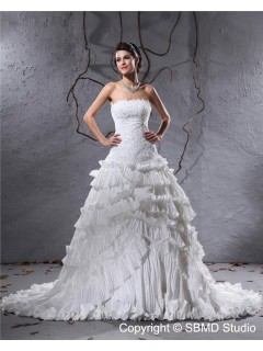 Ruffles / Applique / Beading Empire Satin / Taffeta A-line Court Zipper Sleeveless Strapless / Bateau Ivory Wedding Dress