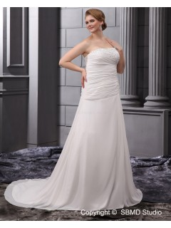 Strapless Sleeveless Ivory Satin / Chiffon Lace Up Embroidery / Ruffles / Beading A-line / Plus Empire Court Size Wedding Dress